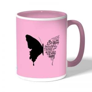 كوب قهوة بمقبض وردي بتصميم نصف فراشة